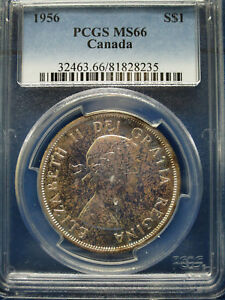 Click now to see the BUY IT NOW Price! 1956 CANADA SILVER DOLLAR $1 PCGS MS66 ELIZABETH II DOLLAR