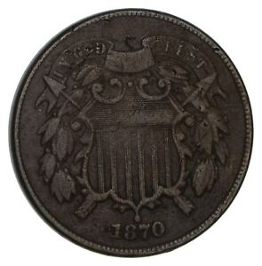 1870 TWO CENT PIECE  CIRCULATED  2950