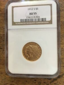 1912 S GOLD INDIAN HEAD HALF EAGLE $5 COIN CERTIFIED NGC AU 55