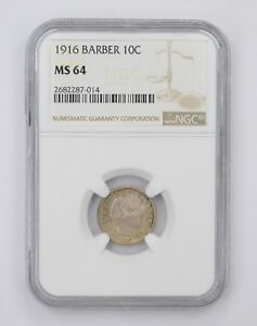 MS64 1916 BARBER DIME   NGC GRADED  4561