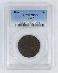 XF45 1802 DRAPED BUST LARGE CENT   PCGS GRADED  2812