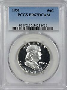 Click now to see the BUY IT NOW Price! 1951 FRANKLIN HALF DOLLAR PCGS PR67 DEEP CAMEO       POP 2 1 FINER