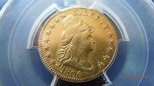 Click now to see the BUY IT NOW Price! 1806/4 DRAPED BUST 2 1/2 GOLD QUARTER EAGLE 8X5 STAR PCGS AU DETAIL 1136 MINTED