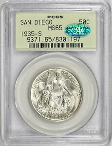 1935 S SAN DIEGO CALIFORNIA EXPOSITION COMMEMORATIVE HALF DOLLAR PCGS MS65 CAC