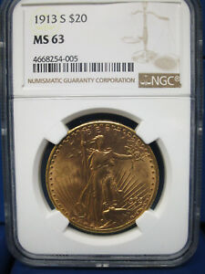 1913 S $20 GOLD ST. GAUDENS NGC MS63 FRESH