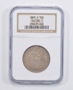 AU58 1868 S SEATED LIBERTY HALF DOLLAR   NGC GRADED  7644