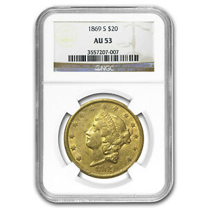 1869 S $20 LIBERTY GOLD DOUBLE EAGLE AU 53 NGC