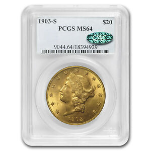 1903 S $20 LIBERTY GOLD DOUBLE EAGLE MS 64 PCGS  CAC    SKU175305
