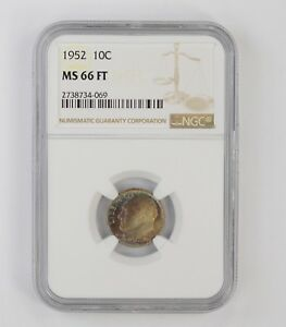 MS66 FT 1952 ROOSEVELT DIME   NGC TONED  6663