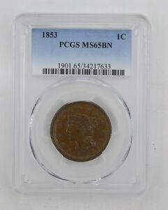 MS65BN 1853 BRAIDED HAIR LARGE CENT   PCGS GRADED  8989