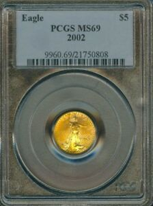 2002 $5 GOLD EAGLES COINS GRADE MS69 BY PCGS..