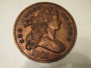 VINTAGE BURWOOD PRODUCTS USA LARGE U.S. COIN 1807 DRAPED BUST DIME WALL PLAQUE
