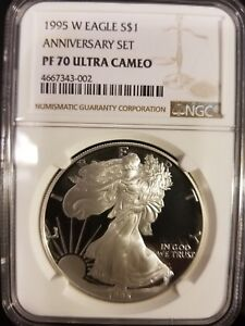 Click now to see the BUY IT NOW Price! 1995 W NGC PF70 10TH ANNIVERSARY PROOF SILVER EAGLE   KING