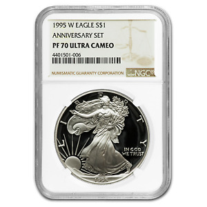 Click now to see the BUY IT NOW Price! 1995 W PROOF SILVER AMERICAN EAGLE PF 70 NGC  REGISTRY SET    SKU 60166
