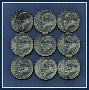 MEXICO 1971 75 76 1 PESOS.  LOT OF 9 COINS.  EST. CONDITION FROM XF TO AU/UNC