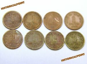 INDIA OLD_1 PAISA_COINS_1957 TO 1964_COMPLETE SET__1_PAISE_8_COINS