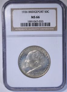 1936 BRIDGEPORT COMMEMORATIVE HALF DOLLAR GRADED MS66 BY NGC