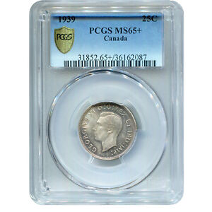 CANADA 25 CENTS SILVER 1939 MS65  PCGS
