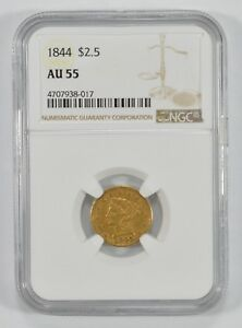 AU55 1844 $2.50 LIBERTY HEAD GOLD QUARTER EAGLE   GRADED BY NGC  7341