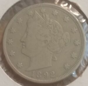 1892 5C LIBERTY NICKEL WITH FULL LIBERTY