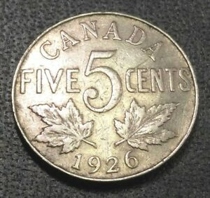 1926 FAR 6 CANADA 5 CENTS   LY  KEY DATE CANADIAN 5C NICKEL COIN