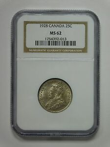 1928 CANADA 25 CENTS COIN NGC GRADED MS 62 1754392 013