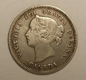 1890 H CANADA 5 CENTS 5C WORLD SILVER COIN