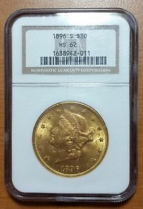1896S LIBERTY HEAD GOLD $20 MOTTO ABOVE EAGLE NGC MS62