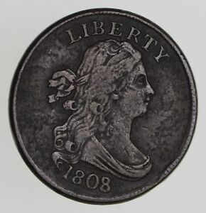 1808/7 DRAPED BUST HALF CENT   CIRCULATED  7777