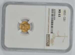 MS63 1853 $1.00 LIBERTY HEAD GOLD DOLLAR   NGC GRADED  1543
