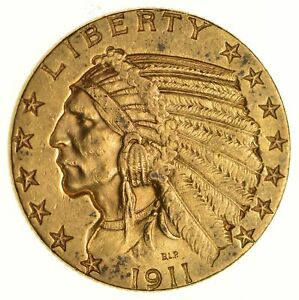 1911 $5.00 INDIAN HEAD GOLD HALF EAGLE   NEAR UNCIRCULATED  6684