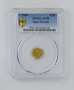 AU50 1849 LIBERTY HEAD GOLD DOLLAR   OPEN WREATH   PCGS GRADED  8230