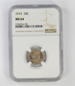 MS64 1913 BARBER DIME   NGC GRADED  6717