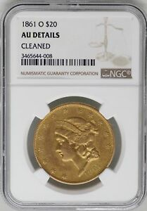Click now to see the BUY IT NOW Price! 1861 O $20 LIBERTY HEAD GOLD DOUBLE EAGLE NGC AU DETAILS JB233