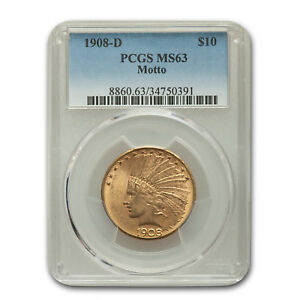 1908 D $10 INDIAN GOLD EAGLE W/MOTTO MS 63 PCGS   SKU157443