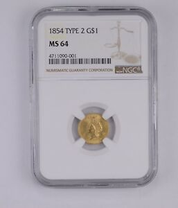 MS64 1854 INDIAN PRINCESS HEAD GOLD DOLLAR   TYPE 2   GRADED BY NGC  7808
