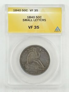 VF35 1840 SEATED LIBERTY HALF DOLLAR   SMALL LETTERS   ANACS GRADED  6455