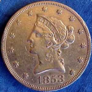 Click now to see the BUY IT NOW Price! 1853 PHILADELPHIA NO MOTTO TYPE $10 DOLLAR LIBERTY UNITED STATES GOLD COIN EF