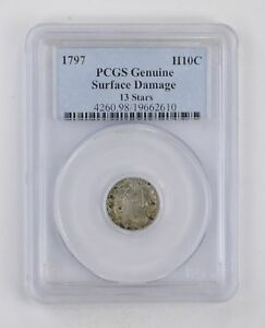 GENUINE 1797 DRAPED BUST HALF DIME   PCGS GRADED  2881