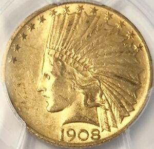 1908 $10 INDIAN GOLD EAGLE WITH MOTTO PCGS AU 58