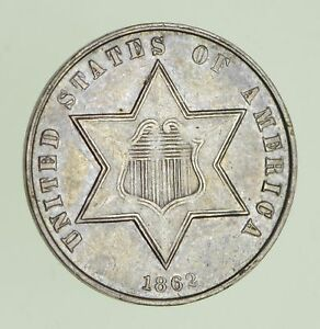 1862 SILVER THREE CENT PIECE   CIRCULATED  1171