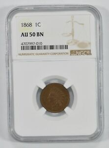AU50 BROWN 1868 INDIAN HEAD CENT   GRADED BY NGC  7352