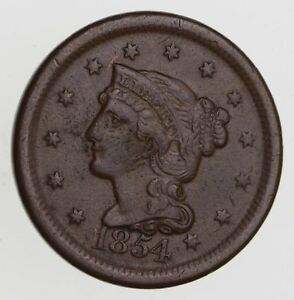 1854 BRAIDED HAIR LARGE CENT   CIRCULATED  7535