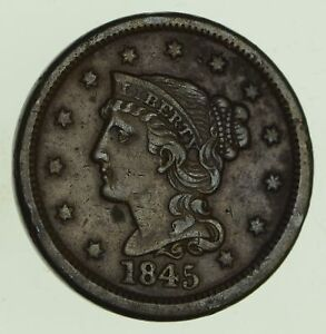 1845 BRAIDED HAIR LARGE CENT   CIRCULATED  8771
