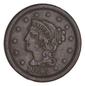 1853 BRAIDED HAIR LARGE CENT   CIRCULATED  8510