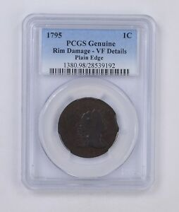 VF DETAILS 1795 LIBERTY CAP LARGE CENT   PLAIN EDGE   PCGS GRADED  4959