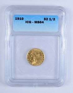 MS64 1910 $2.50 INDIAN HEAD GOLD QUARTER EAGLE   ICG GRADED  3159