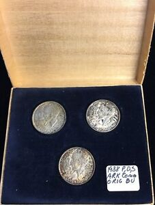 Click now to see the BUY IT NOW Price! 1938 PDS ARKANSAS CENTENNIAL ORIGINAL 3 CLASSIC COMMEMORATIVE HALF DOLLARS SET