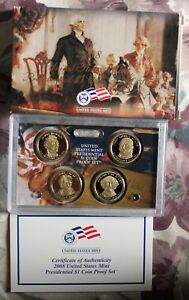 2008 PRESIDENTIAL DOLLAR PROOF SET WITH BOX AND COA