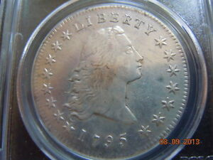 1795 FLOWING HAIR DOLLAR 2 LEAVES PCGS XF DETAILS STRONG HAIR TOP TO BOTTOM